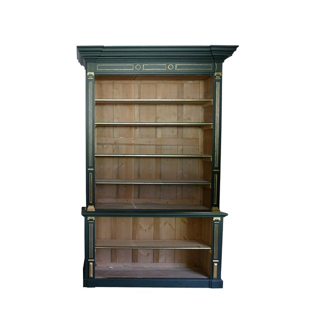 Large Georgian painted and parcel gilt bookcase.-loran-co-Georgian bookcase one_main.jpg