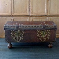 18th century leather and gilt brass studded trunk