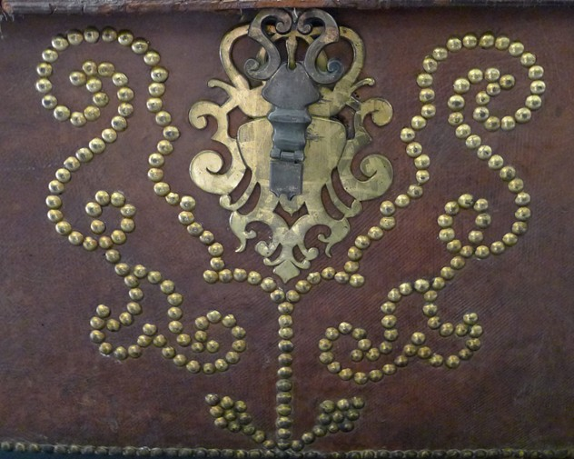 18th century leather and gilt brass studded trunk-loran-co-Leather trunk f_main_636391281063276834.jpg
