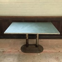 Art Deco slate topped and cast base table.
