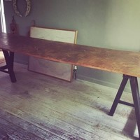 Burr elm trestle table. Farmhouse table