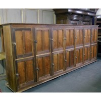 19th early 20th Century pine and mahogany lockers