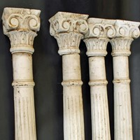 Four 19th Century Colonial softwood pillars
