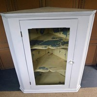 Large 19th Century glazed painted corner cabinet.