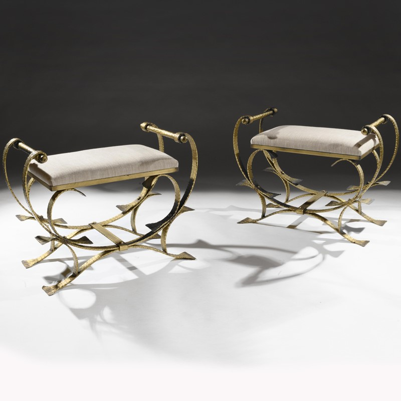Mid 20th C Spanish Gilt Metal And Linen Stools-loveday-1-1-large-main-637375994030291828.jpg