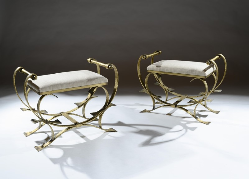 Mid 20th C Spanish Gilt Metal And Linen Stools-loveday-1-22-large-main-637375993755337803.jpg