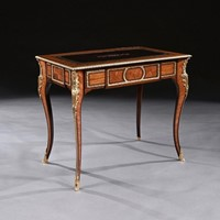 French 19th C Gilt-Bronze Mounted Writing Table