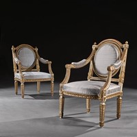 19th C Parcel Gilt Armchairs, Neo-Classical Design