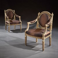 19th C Italian Painted And Parcel Gilt Armchairs