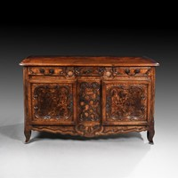 18th C Louis XV French Burr Ash Bressan Buffet