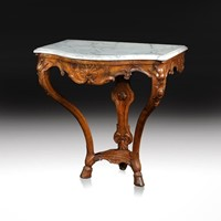 18th C French Regence Walnut Marble Console Table