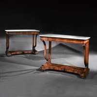Pair 19th C Italian Walnut & Marble Console Tables