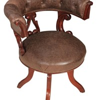 William IV Mahogany and Leather Swivel Desk Chair