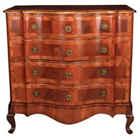 Continental Walnut Serpentine Shaped Commode Chest