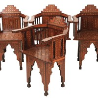 Set of 4 Damascus Syrian Inlaid Elbow Chairs