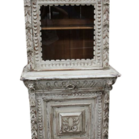 Vintage French Painted Carved Oak Cabinet