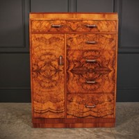 Figured Walnut Art Deco Millinery Cupboard