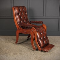 Mahogany & Buttoned Brown Leather Reclining Chair
