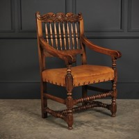 Solid Oak & Leather Armchair
