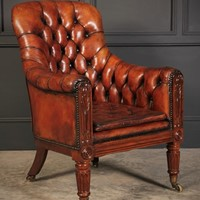 William IV Rosewood & Leather Armchair