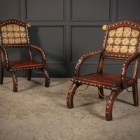 Pair of Indian Hardwood & Brass Chairs