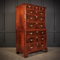 Large Queen Anne Burr Walnut Chest on Chest