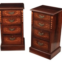 Pair of Marquetry Inlaid Rosewood Bedside Chests