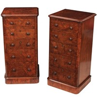Pair of Superb Burr Walnut Bedside Chests