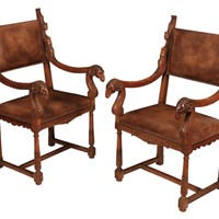Pair of Walnut and Leather Armchairs