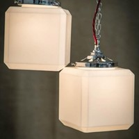 Art Deco Cube Opaline Pendant Lights