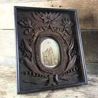 Antique folk art carved frame - woman