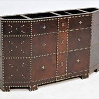 Leather and brass studded umbrella stand