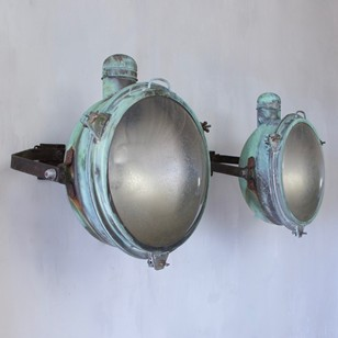 1920s Pair of Holophane Copper Wall Lights