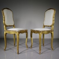 Pair of 19th Century Antique Gilt Side Chairs