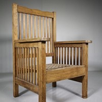 Large Antique Slatted Teak Armchair