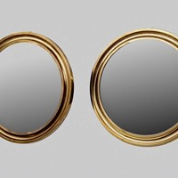 Pair of round brass mirrors