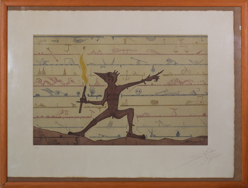 Mythological Elf with Lantern. Etching on paper-modern-decorative-main-with-frame-main-637459587744292390.jpg