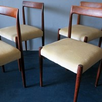 Set of 4  Mid-Century Dining Chairs, Mohair Seats