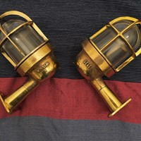 Pair of Reclaimed Nautical Wall Lights, 1950s