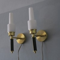 Swedish C E Fors Brass and Milk Glass Sconces
