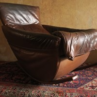 Rare De Sede Leather Rocking Chair Swiss 1970