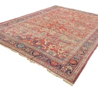 Antique Distressed Ziegler Mahal Carpet 1890