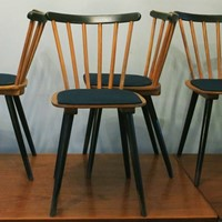 12 Stick Back Chairs, Splayed Legs, Blue-Green