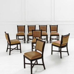 1970's Set of  8 McGuire Rattan Dining Chairs