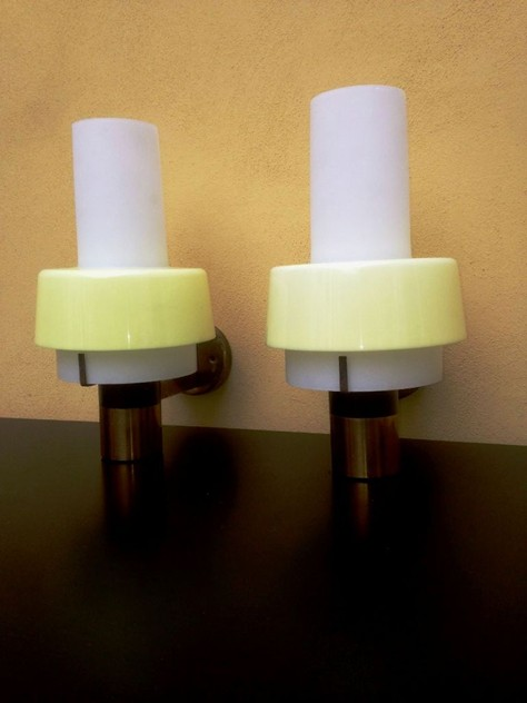 1950's Rare Pair Of Wall Lights by Stilnovo-moioli-gallery-appliques stilnovo gialle_main_635958019199066204.JPG