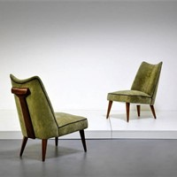 Late 40s Pair of Low Chairs by Melchiorre Bega