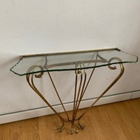 1950s Chiselled Glass Brass Console