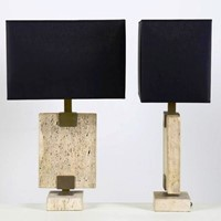 1980s Travertine Pair of Table Lamps