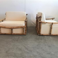 1970s Pair of Large Armchairs in Bamboo