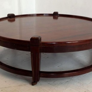 Large Post War  Round Coffee Table on Wheels